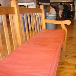 cushions on the bench extend comfort and duration of sitting or lying down